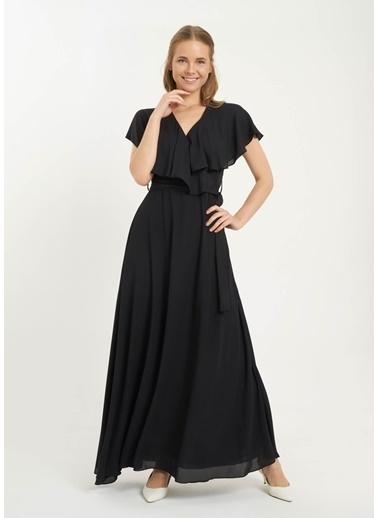 Tiffany&Tomato Queen Volan Yaka Elbise Siyah